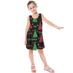 New Year Pattern   Red And Green Kids  Sleeveless Dress