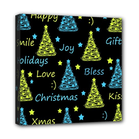 New Year pattern - blue and yellow Mini Canvas 8  x 8