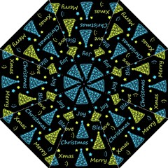 New Year pattern - blue and yellow Straight Umbrellas