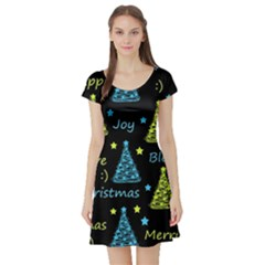 New Year Pattern   Blue And Yellow Short Sleeve Skater Dress