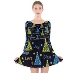 New Year pattern - blue and yellow Long Sleeve Velvet Skater Dress