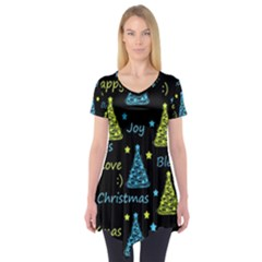 New Year Pattern   Blue And Yellow Short Sleeve Tunic