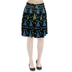 New Year Pattern   Blue And Yellow Pleated Skirt