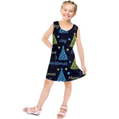 New Year Pattern   Blue And Yellow Kids  Tunic Dress