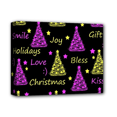 New Year Pattern   Yellow And Purple Deluxe Canvas 14  X 11