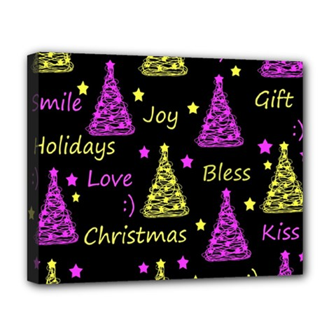 New Year Pattern   Yellow And Purple Deluxe Canvas 20  X 16