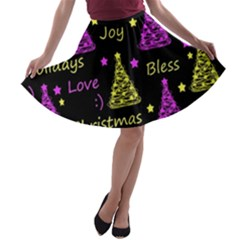 New Year pattern - Yellow and purple A-line Skater Skirt