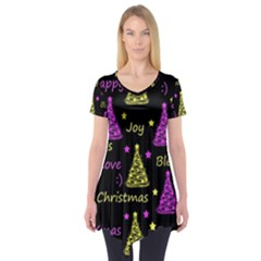 New Year pattern - Yellow and purple Short Sleeve Tunic