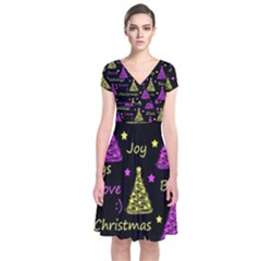 New Year pattern - Yellow and purple Short Sleeve Front Wrap Dress
