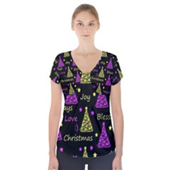 New Year pattern - Yellow and purple Short Sleeve Front Detail Top