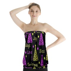 New Year pattern - Yellow and purple Strapless Top