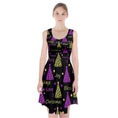New Year pattern - Yellow and purple Racerback Midi Dress