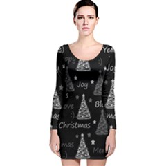 New Year pattern - gray Long Sleeve Velvet Bodycon Dress