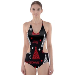 New Year pattern - red Cut-Out One Piece Swimsuit