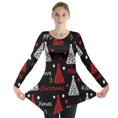 New Year pattern - red Long Sleeve Tunic