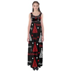 New Year pattern - red Empire Waist Maxi Dress
