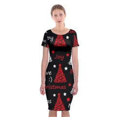 New Year Pattern   Red Classic Short Sleeve Midi Dress