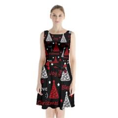 New Year pattern - red Sleeveless Chiffon Waist Tie Dress
