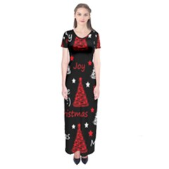 New Year pattern - red Short Sleeve Maxi Dress