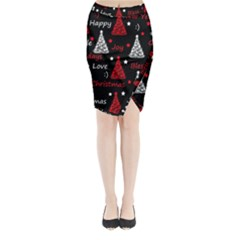 New Year pattern - red Midi Wrap Pencil Skirt