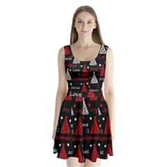 New Year pattern - red Split Back Mini Dress