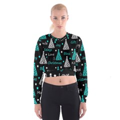 New Year pattern - cyan Women s Cropped Sweatshirt