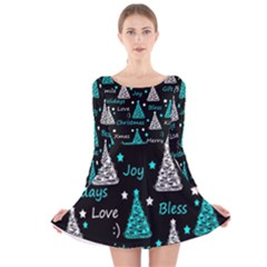 New Year pattern - cyan Long Sleeve Velvet Skater Dress