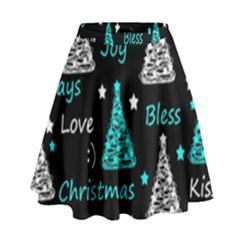 New Year pattern - cyan High Waist Skirt