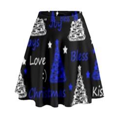 New Year pattern - blue High Waist Skirt