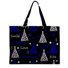 New Year Pattern   Blue Medium Zipper Tote Bag