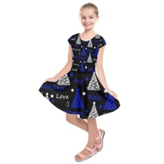 New Year pattern - blue Kids  Short Sleeve Dress