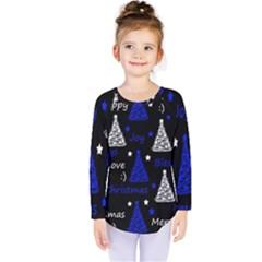 New Year Pattern   Blue Kids  Long Sleeve Tee