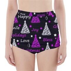 New Year Pattern   Purple High Waisted Bikini Bottoms