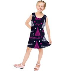 New Year Pattern   Magenta Kids  Tunic Dress