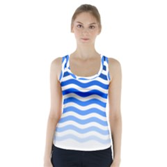 Water White Blue Line Racer Back Sports Top