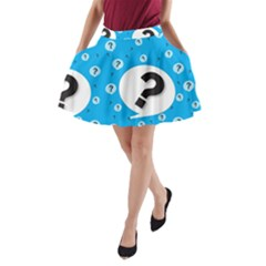 Blue Question Mark A Line Pocket Skirt