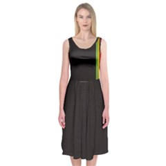 Brown White Stripes Green Yellow Pink Midi Sleeveless Dress