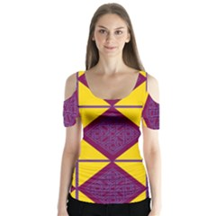 Complexion Purple Yellow Butterfly Sleeve Cutout Tee