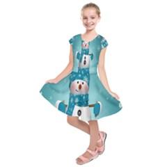 Cute Snowman Kids  Short Sleeve Dress