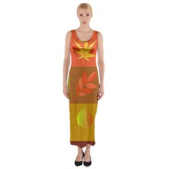 Autumn Leaves Colorful Fall Foliage Fitted Maxi Dress