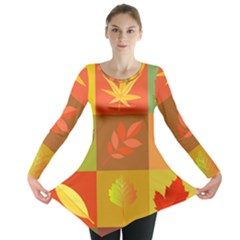 Autumn Leaves Colorful Fall Foliage Long Sleeve Tunic