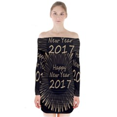 Celebration New Year 2017 Long Sleeve Off Shoulder Dress