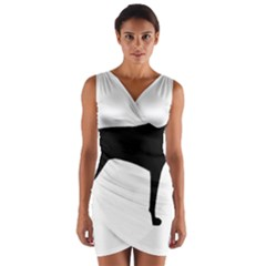 Vizsla Silo Black Wrap Front Bodycon Dress
