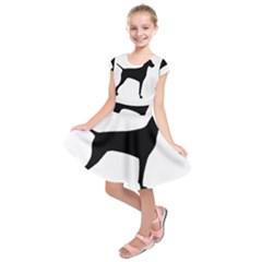 Vizsla Silo Black Kids  Short Sleeve Dress