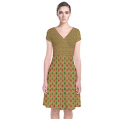 Christmas Trees Pattern  Short Sleeve Front Wrap Dress