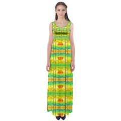 Birds Beach Sun Abstract Pattern Empire Waist Maxi Dress