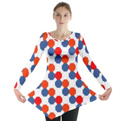 Geometric Design Red White Blue Long Sleeve Tunic