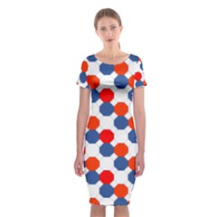 Geometric Design Red White Blue Classic Short Sleeve Midi Dress