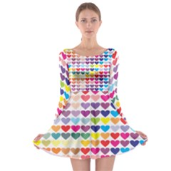 Heart Love Color Colorful Long Sleeve Skater Dress