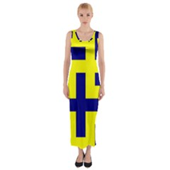 Pattern Blue Yellow Crosses Plus Style Bright Fitted Maxi Dress